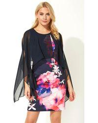 Roman Originals - Floral Print Chiffon Overlay Dress - Lyst