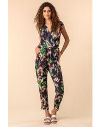 Roman Originals - Tropical Print Tie Waist Jumpsuit - Lyst