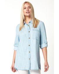 Roman Originals Longline Oversized Button Through Shirt - Blue