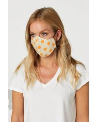 Roman Originals Spot Print Fast Drying Fashion Face Mask - Orange