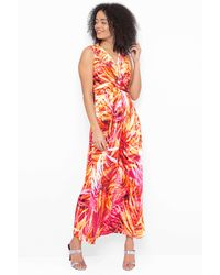 Roman Originals - Tropical Print Twist Front Maxi Dress - Lyst