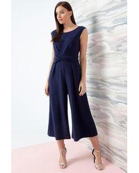 Roman Originals Twist Front Culotte Jumpsuit - Blue