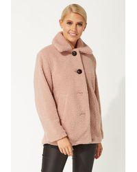 Roman Originals Faux Fur Teddy Coat - Pink