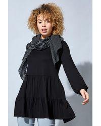 Roman Originals Long Sleeve Swing Top & Patchwork Scarf - Black
