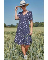 Roman Originals Floral Side Button Tea Dress - Blue