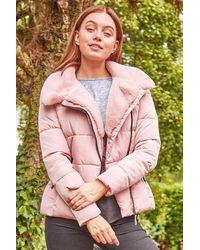 Roman Originals Faux Fur Collar Padded Biker Coat - Pink