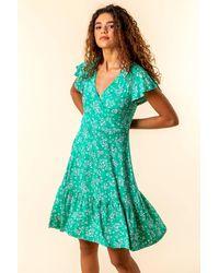 Roman Originals - Floral Print Wrap Tea Dress - Lyst