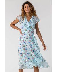 Roman Originals Floral Spot Print Frill Wrap Dress - Blue