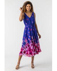 Roman Originals - Floral Print Belted Midi Dress - Lyst