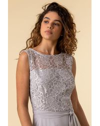Roman Originals Lace Detail Fit And Flare Dress - Grey