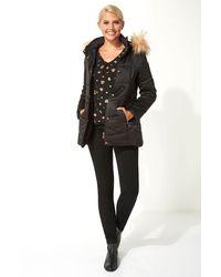 Roman Originals Faux Fur Trim Padded Coat - Black