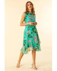 Roman Originals Tropical Print Chiffon Dress - Multicolour