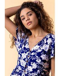Roman Originals - Floral Print Button Detail Dress - Lyst