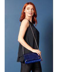 Roman Originals Sequin Foldover Metal Bar Clutch Bag - Blue