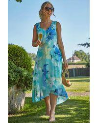 Roman Originals Floral Chiffon Frill Midi Dress - Blue