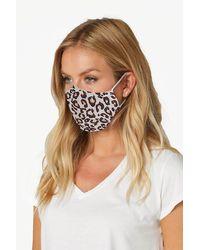Roman Originals Leopard Print Fast Drying Fashion Face Mask - White