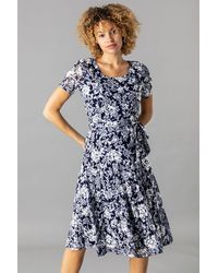 Roman Originals Floral Burnout Midi Dress - Blue