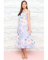 Roman Originals - Floral Bias Cut Fluted Hem Midi Dress - Lyst