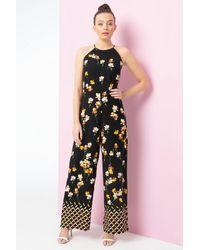 Roman Originals Floral Border Print Jumpsuit - Black