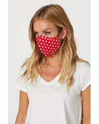 Roman Originals Polka Dot Print Fast Drying Fashion Face Mask - Red