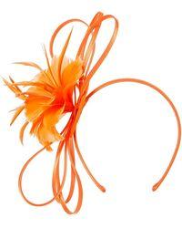 Roman Originals Feather Flower Fascinator - Orange