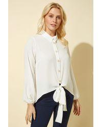 Roman Originals Tie Front Button Blouse - White