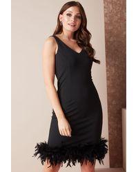 Roman Originals Fitted Feather Hem Dress - Black