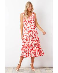 Roman Originals Poppy Print Bias Cut Dress - Red
