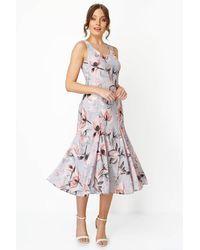 Roman Originals - Floral Bias Cut Fluted Hem Godet Midi Dress - Lyst