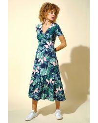Roman Originals Tropical Floral Print Midi Dress - Green