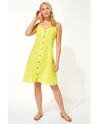 Roman Originals Button Through Cami Shift Dress - Yellow