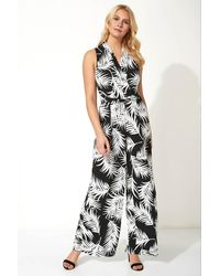 Roman Originals Leaf Print Crossover Detail Jumpsuit - Black