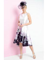 Roman Originals Floral Print Dipped Hem Midi Dress - Pink