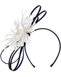 Roman Originals Feather Flower Fascinator - Blue