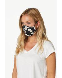 Roman Originals Daisy Print Fast Drying Fashion Face Mask - Black
