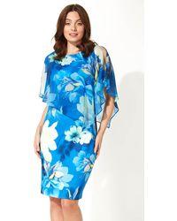 Roman Originals Floral Overlay Chiffon Dress - Blue