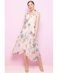 Roman Originals Floral Chiffon Frill Midi Dress - Pink