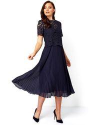Roman Originals Lace Top Overlay Pleated Midi Dress - Blue