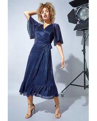 Roman Originals Plisse Sparkle Wrap Maxi Dress - Blue