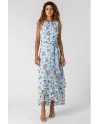 Roman Originals - Tie Waist Floral Print Maxi Dress - Lyst