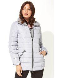 Roman Originals Short Zip Through Padded Coat - Grey