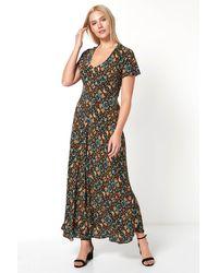 Roman Originals Floral Bias Cut Maxi Dress - Black