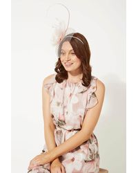 Roman Originals Large Quill And Dome Flower Fascinator - Natural
