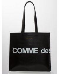 Comme des Garçons Huge Logo Leather Tote Bag Black