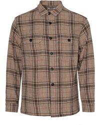 Tres Bien Box Overshirt Checks - Brown