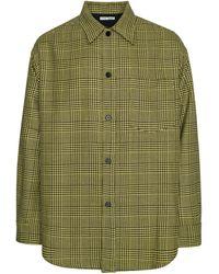 Cmmn Swdn Sergey Woven Oversized Shirt Jkt In Heavy Wool - Green