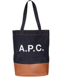 A.P.C. - Blue Denim And Camel-colored Leather Bag - Lyst