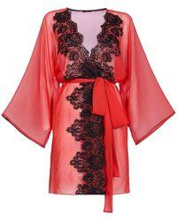 Rosamosario Love To My Husband Short Robe - Red