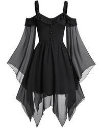 Rosegal Cold Shoulder Butterfly Sleeve Lace-up Handkerchief Gothic Chiffon Dress - Black