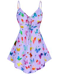 Rosegal Plus Size Butterfly Print Cinched Tank Top - Purple